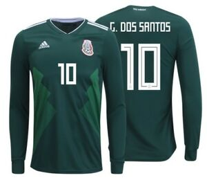 5b98a0119 ADIDAS GIOVANI DOS SANTOS MEXICO LONG SLEEVE HOME JERSEY WORLD CUP ...