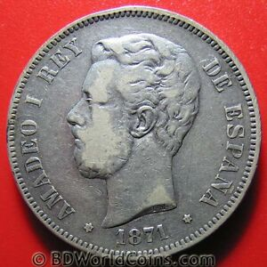 SPAIN-1871-71-SD-M-5-PESETAS-SILVER-AMADEO-I-SPANISH-COLLECTABLE-CROWN-37mm