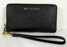 Michael Kors Jet Set Black Saffiano Leather Large Flap MF Phone Case Wristlet