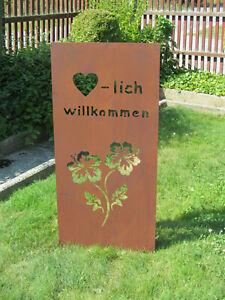 Gartenschild-034-Willkommen-034-rost-braun-Hoehe-ca-100cm-Gartenstecker-mit-Schriftzug