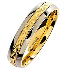 Titanium Ring, Wedding Band with Gold Plated Engravings, size 5