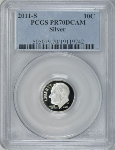 2011-S ROOSEVELT SILVER PROOF DIME 10c PCGS PR70DCAM