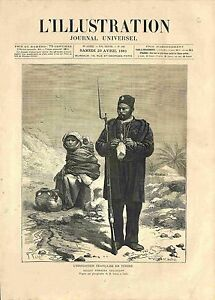 Expedition-Francaise-en-Tunisie-Soldat-Tunisien-Tricot-Oasis-GRAVURE-1881