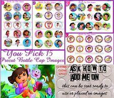 15 Dora The Explorer Flat Silver Bottle Cap Necklaces Set 1