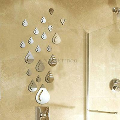 Hot Sale Silver Raindrop Mirror Acrylic Wall Stickers Bathroom 3D DIY Home Decor