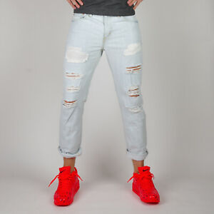 Levi-s-511-Slim-fit-Witches-Castle-Herren-distressed-hellblau-Jeans-38-32