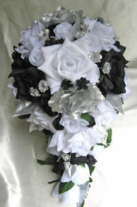 Wedding bouquet 21 piece package bridal bouquets silk flowers black image is loading wedding bouquet 21 piece package bridal bouquets silk mightylinksfo