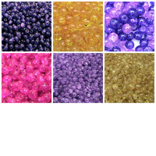 6mm Round Glass Crackle Beads Jewellery Craft Beading PICK COLOUR 200 Pcs