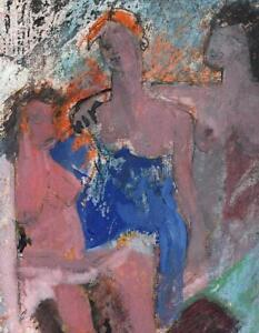 ABSTRACT-FEMALE-NUDES-Watercolour-Painting-c1970-MODERNISM