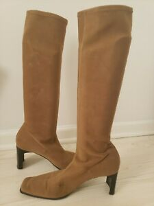 Casadei Brown Tall Faux Suede Pull-On