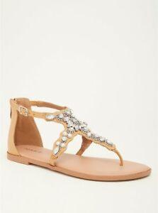 8006ef614 TORRID Faux Pearl Gemstone T-Strap Sandal TAN shoes WIDE WIDTH 8 ...