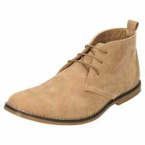 Homme-a-Lacets-Desert-Bottines-en-daim-synthetique-beige-marron-clair-Haut-TOP-Decontracte-Chaussure