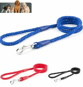 Ancol-Reflective-Trigger-Hook-Slip-Rope-Dog-Lead-Black-Blue-Red-10mm-x-1-1M