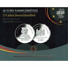 """2016 Germany 20 Euro Silver Proof Coin """"Song of Germany National Anthem 175 Yrs"""""""