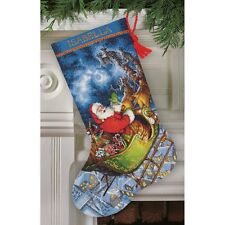 """COUNTED CROSS STITCH Christmas Stocking KIT Santas Flight Dimensions Gold 16"""""""
