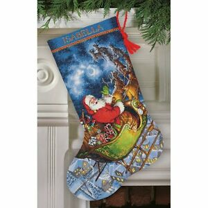 Counted-Cross-Stitch-Christmas-Stocking-KIT-Santas-Flight-Dimensions-Gold-16-034
