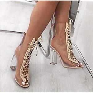 7ae27ddd0c7 Cape Robbin Bailey-1 Women Lace Up Peep Toe Lucite Chunky High Heel ...