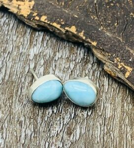 NATURAL-LARIMAR-Earrings-Small-tear-Studs-925-Sterling-Silver-P94