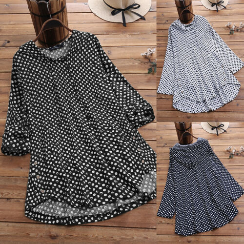 M-5XL Women V Neck Hoodies Casual Shirt Tops Hooded Polka Dot Blouse Shirt Tops