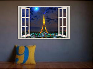 Eiffel Tower Paris Sunset at Night Window View Color Wall Sticker