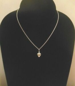 Girls-12-5-034-STERLING-SILVER-925-Italy-HEART-CHARM-Necklace-Great-Gift-Idea