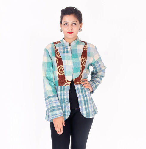 Jakke Vintage Indisk Håndlavet Gudri Kantha Reversibel Coat Kjole Rally 16x56w