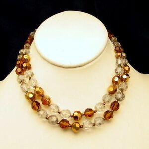 MARVELLA-Vintage-2-Multi-Strand-Crystal-Beads-Necklace-Topaz-Gold-Plated-1960s