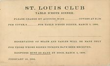 The St Louis Club, Table D'Hote Dinner, St Louis MO 1906