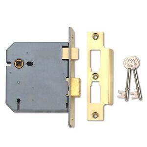3 Lever Brass Face Mortice Internal Sash Door Lock 65mm Case Depth