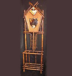 19th-C-Art-Nouveau-Bamboo-Hall-Tree-Shield-Mirror-Mudroom-entryway-coat-rack