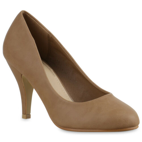 Klassische Damen Abiball Pumps Business High Heels Leder-Optik 816496 Schuhe