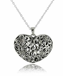 3D-Flower-Heart-Necklace-925-Sterling-Silver-Love-Valentine-039-s-Gift-Pendant