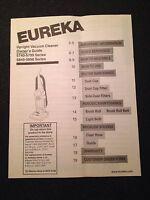 Eureka Upright Vacuum Cleaner Owner's Guide Manual 5740-5799 5840-5898 Series