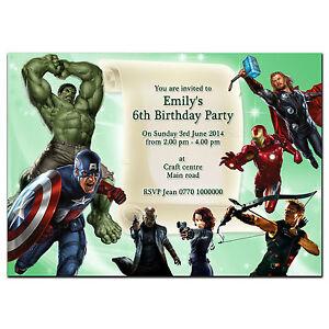 Detalles De I037 Vengadores Super Hero Personalizadas Invitaciones O Tarjetas De Agradecimiento Cualquier Edad Ver Título Original