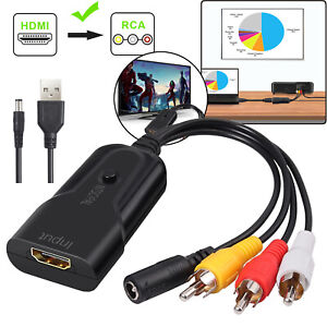 1080P HDMI to RCA Audio Video Converter Cable For Roku Fire Stick PS3 DVD Xbox