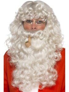 Father Christmas Fancy Dress Costume Set 4 Pieces Beard Wig Glasses Pipe Santa