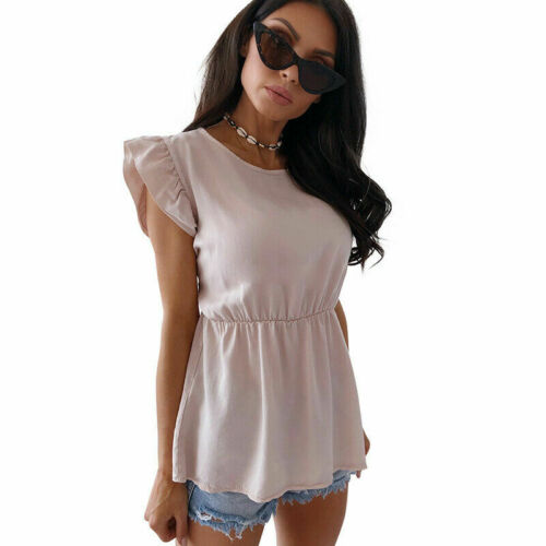 Women Crew Neck T-shirt Peplum Tops Ladies Summer Holiday Ruffle Sleeve Blouses