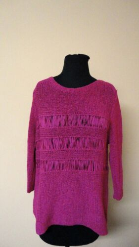 CHICO'S Pink Acrylic Blend Textured Knit Chunky Sc