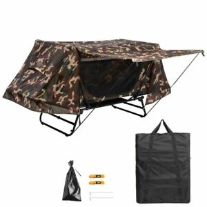 Portable Single Camping Tent Cot Folding Waterproof Hiking Bed Rain Fly Bag Camo