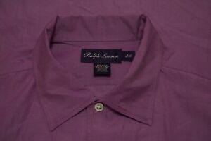 Ralph Lauren Purple Label Solid Pink 100% Cotton Button Up Shirt Sz L