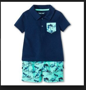 Cherokee Boys Nighttime Blue Polo and Shorts Set 2 Piece Set 3-6 Months NWT