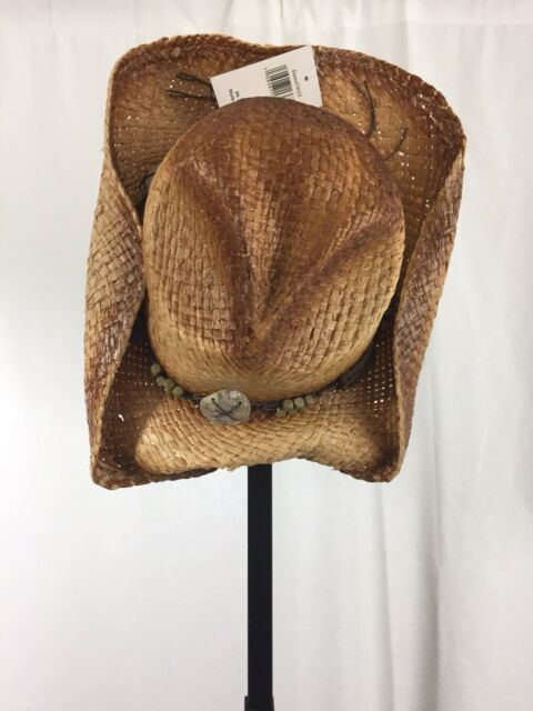 d259b0dea Stone Age Adult Straw Cowboy Hat W/Faux Leather Band & Large Metal Medallion