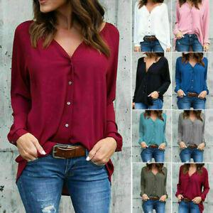 Elegent-Women-Long-Sleeve-Loose-Blouse-Casual-Shirt-Summer-Chiffon-Tops-T-Shirt