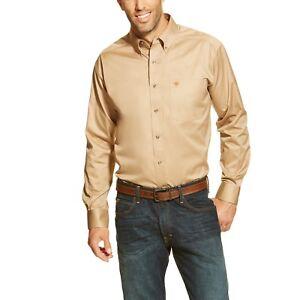ac29f2ea9601 Ariat® Men s Solid Twill Khaki Long Sleeve Button Shirt 10000505