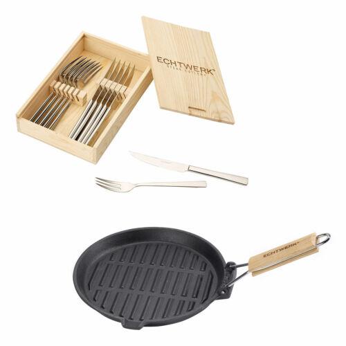 """Echtwerk Steakbesteck Set /""""SARRE/"""" 12 tlg inkl Gusseisen Grillpfanne Besteckset"""