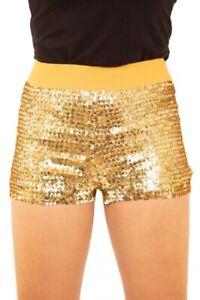 Damen Hotpants mit Pailletten und elastischem Bund Gold Panty kurze Hose Short