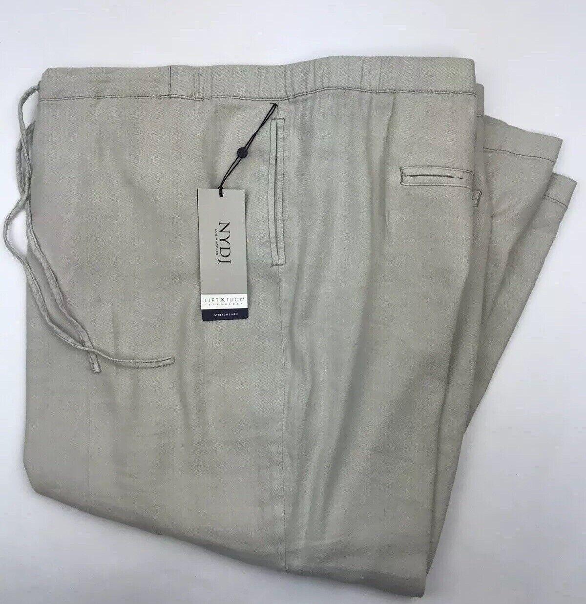 NYDJ Original Slimming Fit Trouser Pants Plus Größe 22W Stretch Linen Stone  114