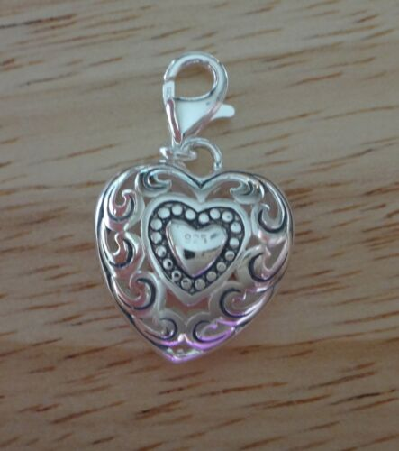 Sterling Silver 3D 20x17x7mm Beautiful Cut Out Filigree Puffy Heart Charm Clasp