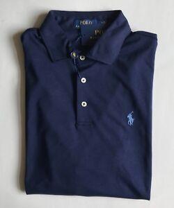 85-Neuf-avec-etiquettes-pour-homme-POLO-RALPH-LAUREN-Classic-Fit-Knit-Shirt-a-Manches-Courtes-Bleu