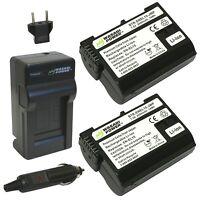Wasabi Power Battery (2-pack) And Charger For Nikon En-el15 And Nikon 1 V1 D6...